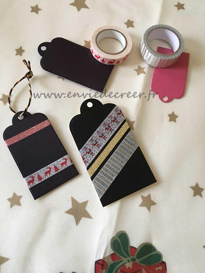 etiquettes cadeaux washi noel