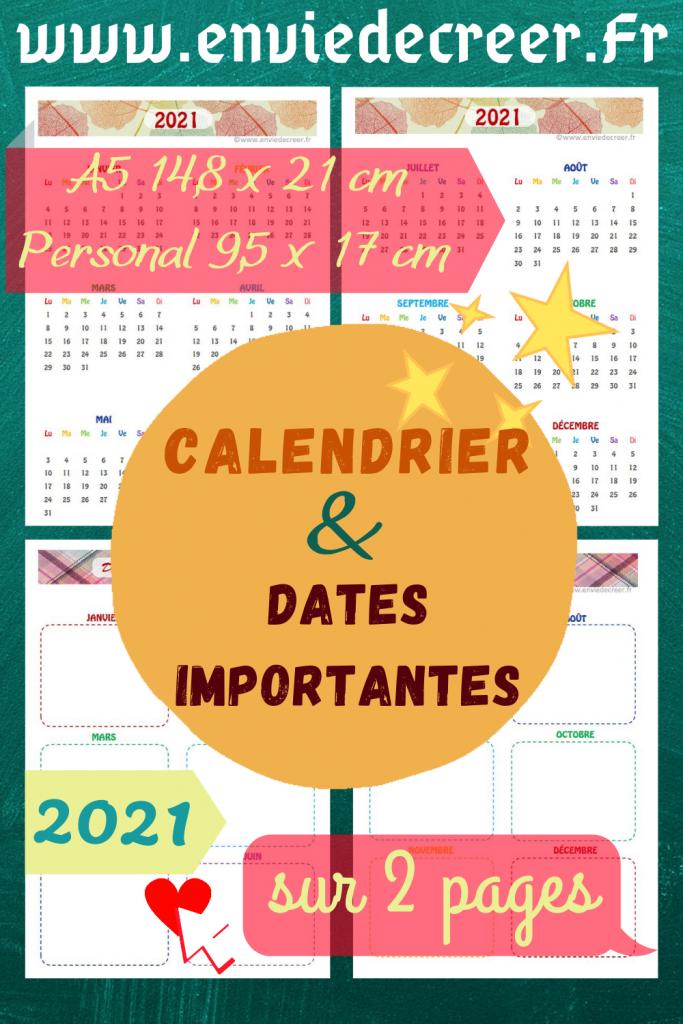 2021 calendrier et dates importantes