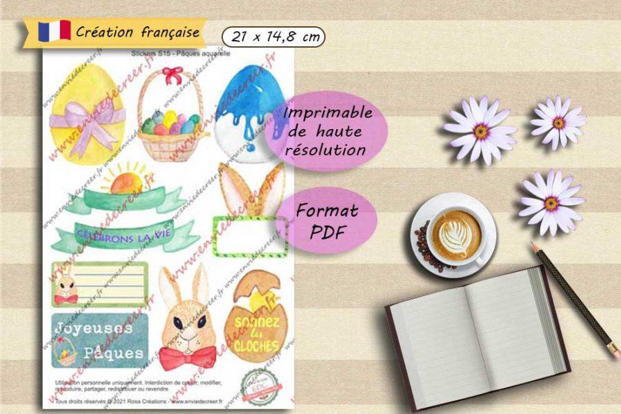 stickers paques aquarelle