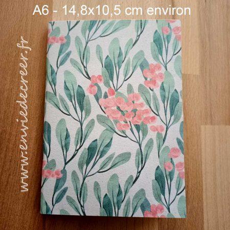 carnet a6 petits carreaux feuillage aquarelle