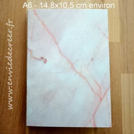 carnet a6 pointille marbre rose